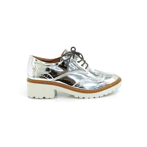 Silver Lace-up Mirror Leather Vintage Brogues Women's Oxfords image 2
