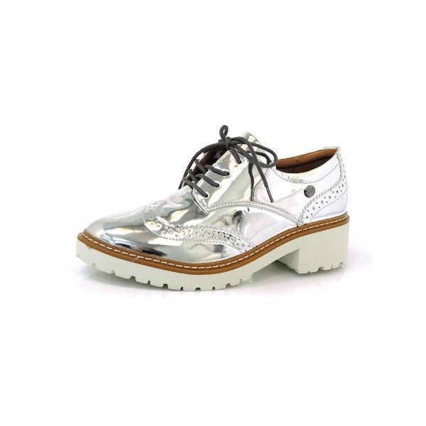 Silver Lace-up Mirror Leather Vintage Brogues Women's Oxfords image 1