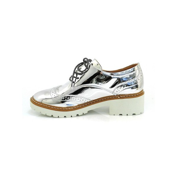 Silver Lace-up Mirror Leather Vintage Brogues Women's Oxfords image 4