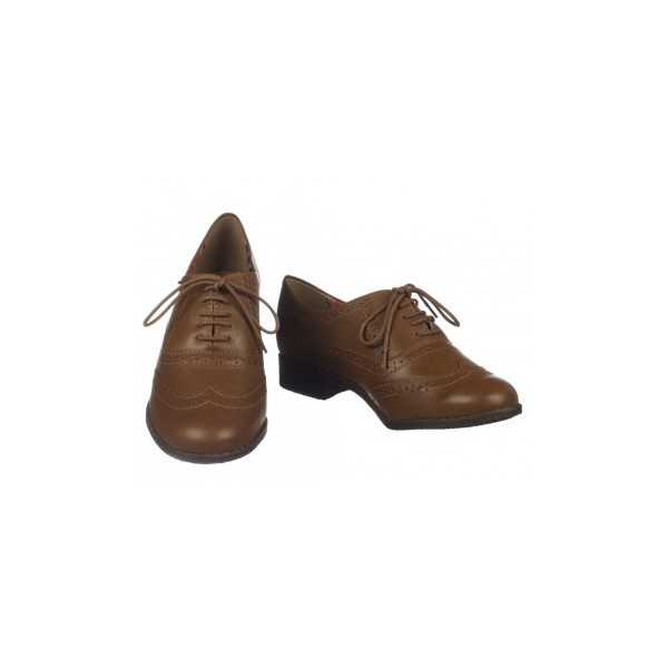 Dark Brown Round Toe Vintage Lace-up Brogues Women's Oxfords image 1