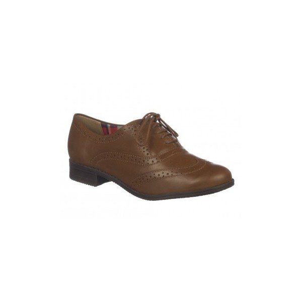 Dark Brown Round Toe Vintage Lace-up Brogues Women's Oxfords image 2