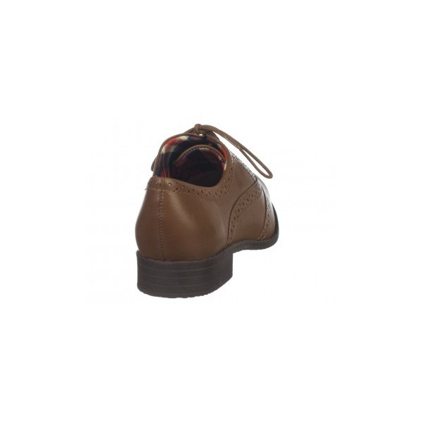 Dark Brown Round Toe Vintage Lace-up Brogues Women's Oxfords image 3