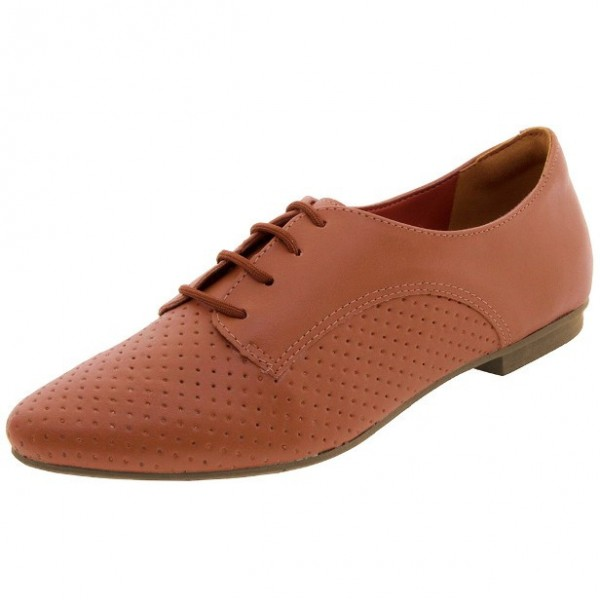 Women's Orange Vintage Oxfords Lace Up Comfortable Flats image 1