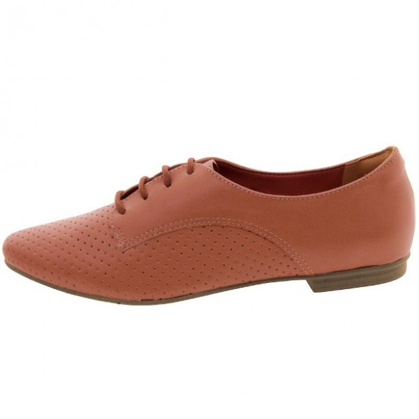 Women's Orange Vintage Oxfords Lace Up Comfortable Flats image 4