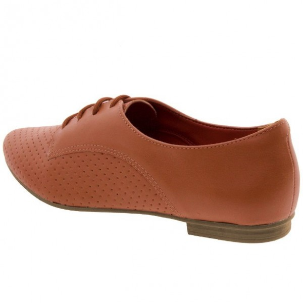 Women's Orange Vintage Oxfords Lace Up Comfortable Flats image 2