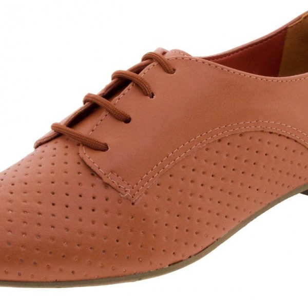 Women's Orange Vintage Oxfords Lace Up Comfortable Flats image 3
