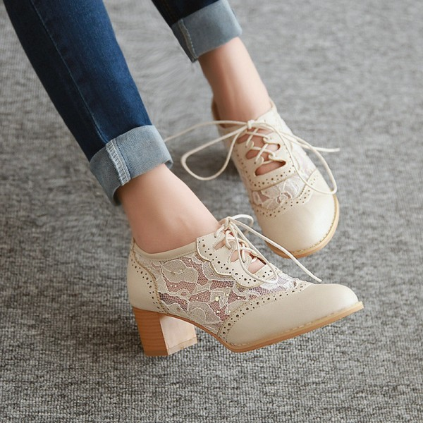 Women's Oxfords Beige Lace Vintage Chunky Heels Shoes image 3