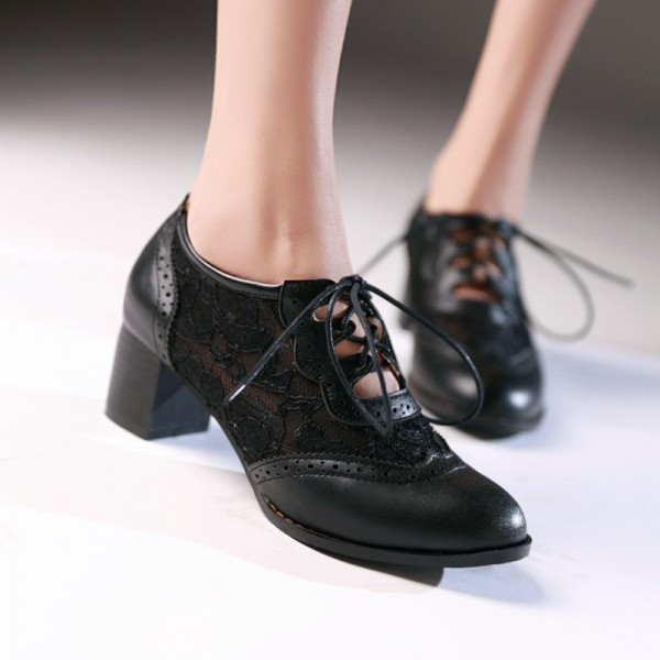 Women's Black Lace Up Vintage Oxfords Chunky Heels Shoes image 3