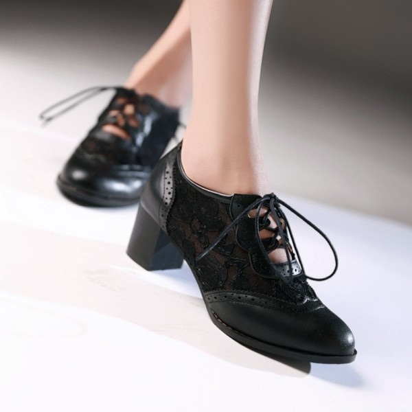 Women's Black Lace Up Vintage Oxfords Chunky Heels Shoes image 2