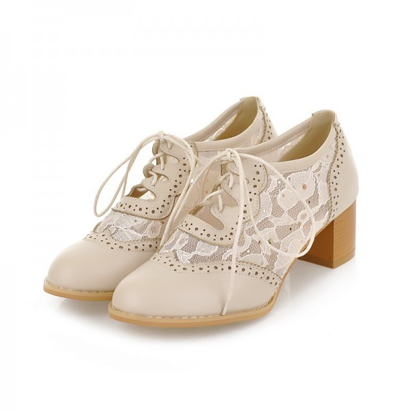 Women's Oxfords Beige Lace Vintage Chunky Heels Shoes image 1