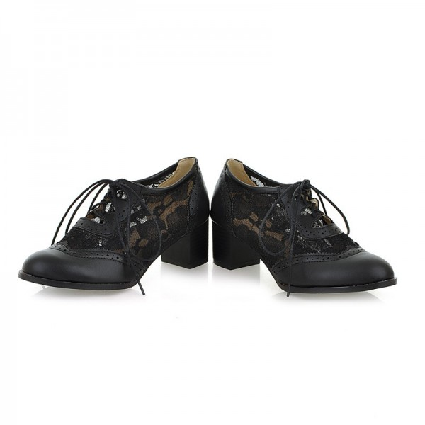 Women's Black Lace Up Vintage Oxfords Chunky Heels Shoes image 1