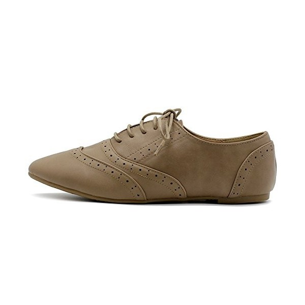 Tan Round Toe Wingtip Shoes Vintage Flat Oxfords image 5