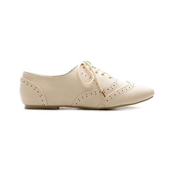Ivory Wingtip Women's Oxfords Lace up Round Toe Flat School Shoes image 3