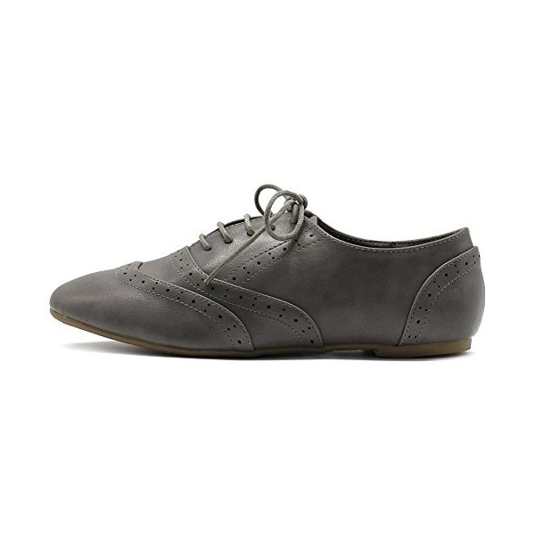 Grey Round Toe Wingtip Shoes Lace up Vintage Flat Women's Oxfords image 6