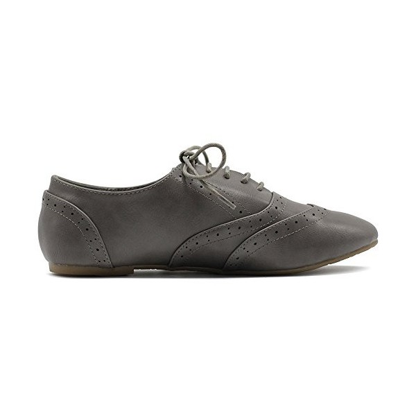 Grey Round Toe Wingtip Shoes Lace up Vintage Flat Women's Oxfords image 2
