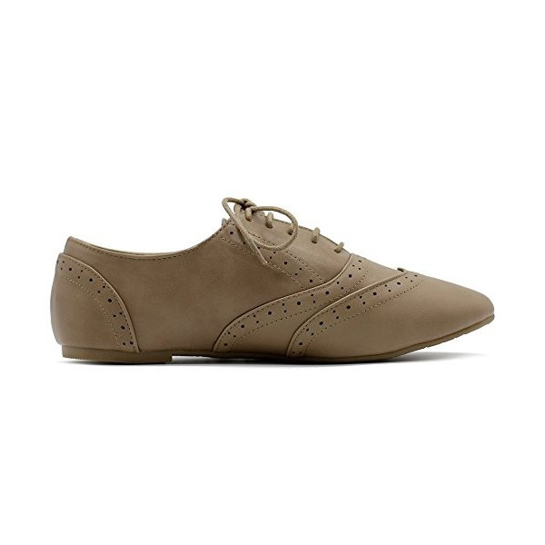 Tan Round Toe Wingtip Shoes Vintage Flat Oxfords image 3