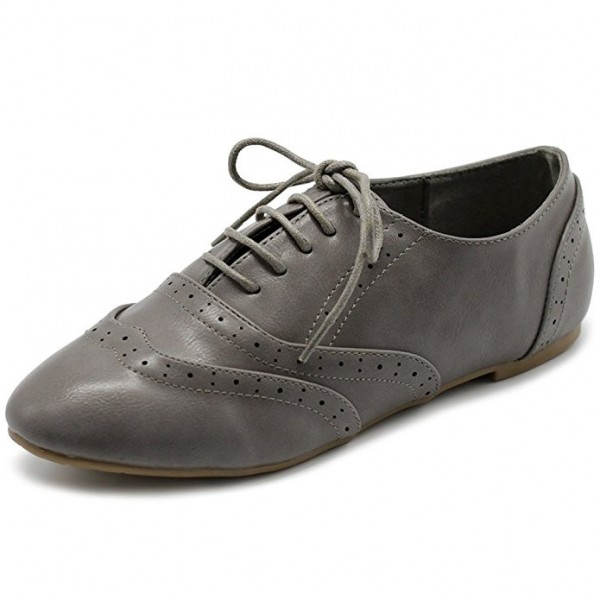 Grey Round Toe Wingtip Shoes Lace up Vintage Flat Women's Oxfords image 1