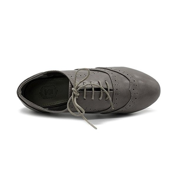 Grey Round Toe Wingtip Shoes Lace up Vintage Flat Women's Oxfords image 4