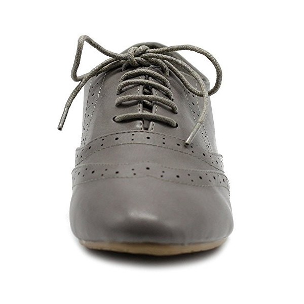 Grey Round Toe Wingtip Shoes Lace up Vintage Flat Women's Oxfords image 5
