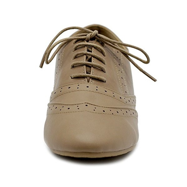 Tan Round Toe Wingtip Shoes Vintage Flat Oxfords image 6