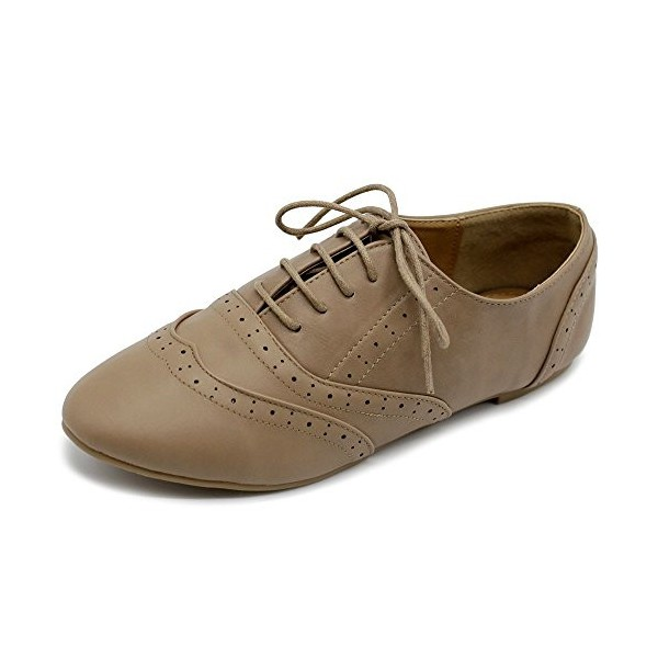 Tan Round Toe Wingtip Shoes Vintage Flat Oxfords image 1