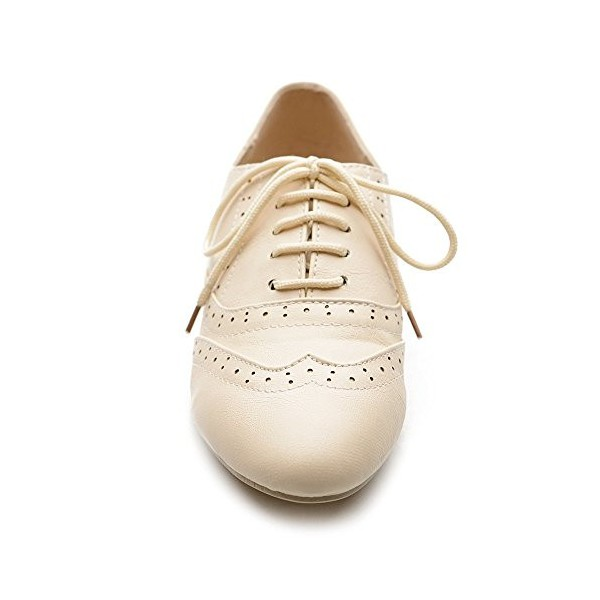 Ivory Wingtip Women's Oxfords Lace up Round Toe Flat School Shoes image 5