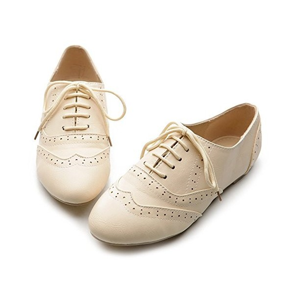 Ivory Wingtip Women's Oxfords Lace up Round Toe Flat School Shoes image 1