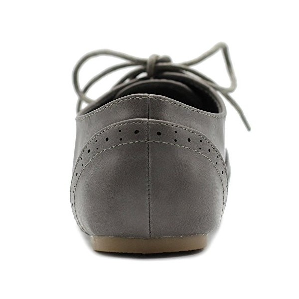 Grey Round Toe Wingtip Shoes Lace up Vintage Flat Women's Oxfords image 3