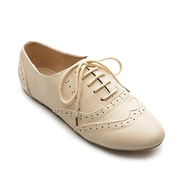 Ivory Wingtip Women's Oxfords Lace up Round Toe Flat School Shoes image 4