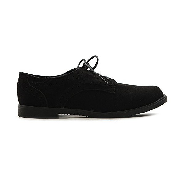 Suede Comfortable Shoes Black Vintage Lace-up Oxfords image 2