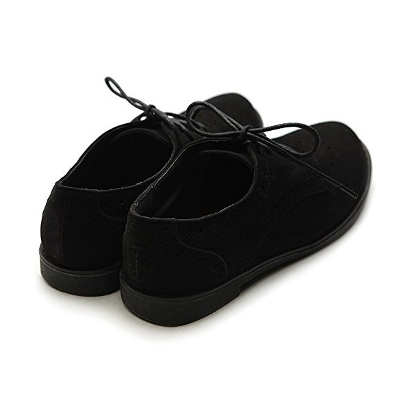Suede Comfortable Shoes Black Vintage Lace-up Oxfords image 4