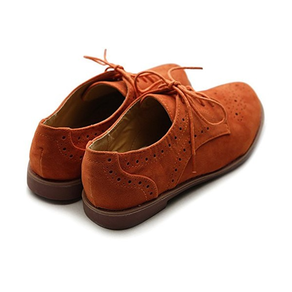 Orange Women's Oxfords Suede Comfortable Lace up Flats Vintage Shoes image 4