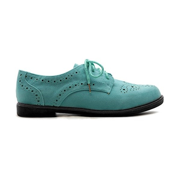 Turquoise Women's Oxfords Comfortable Lace up Vintage Flats image 2