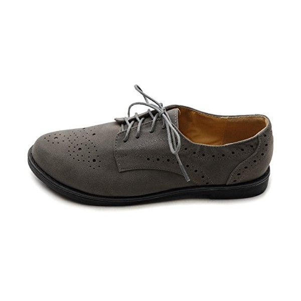 Dark Grey Vintage Shoes Women's Oxfords Lace-up Comfortable Flat image 5