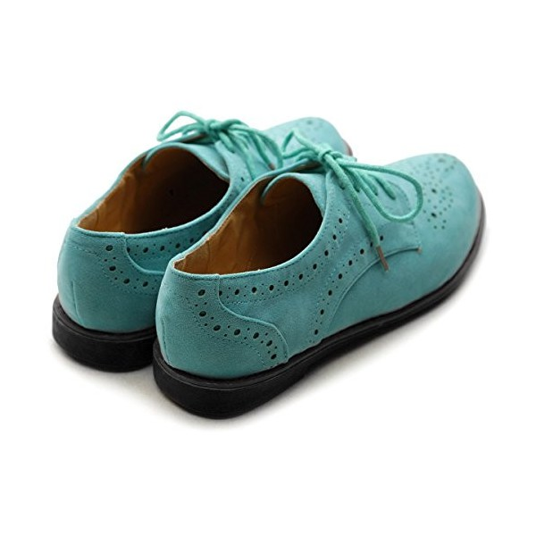 Turquoise Women's Oxfords Comfortable Lace up Vintage Flats image 3