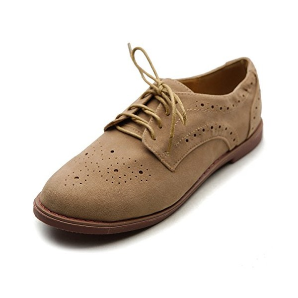 Tan Vintage Shoes Lace up Flats Comfortable Oxfords  image 1