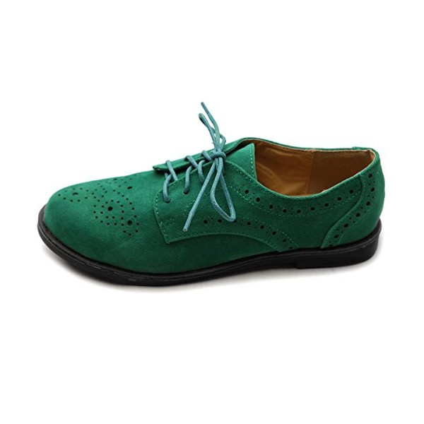 Green Suede Women's Oxfords Lace up Comfortable Flats image 2
