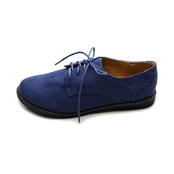 Navy Lace up Flats Women's Oxfords School Shoes image 2