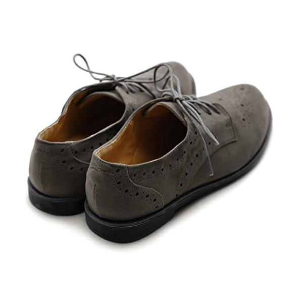 Dark Grey Vintage Shoes Women's Oxfords Lace-up Comfortable Flat image 2