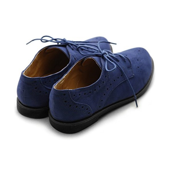 Navy Lace up Flats Women's Oxfords School Shoes image 3