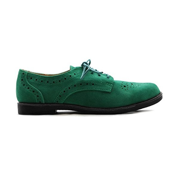 Women's Green Vintage Oxfords or Brogues Strap Round Toe Flats Shoes image 3