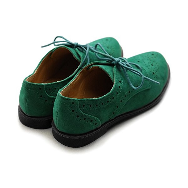 Women's Green Vintage Oxfords or Brogues Strap Round Toe Flats Shoes image 5