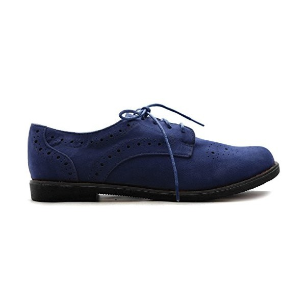 Navy Lace up Flats Women's Oxfords School Shoes image 4