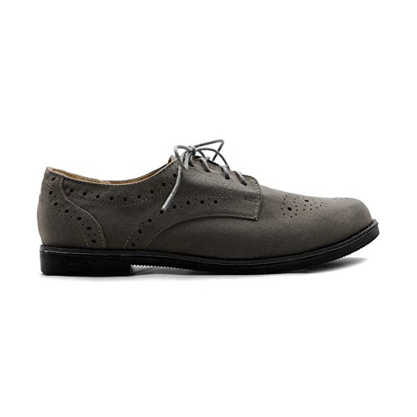 Dark Grey Vintage Shoes Women's Oxfords Lace-up Comfortable Flat image 4