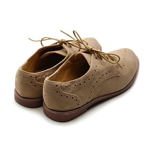 Tan Vintage Shoes Lace up Flats Comfortable Oxfords  image 2