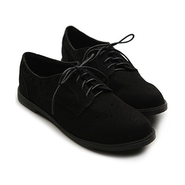 Suede Comfortable Shoes Black Vintage Lace-up Oxfords image 3
