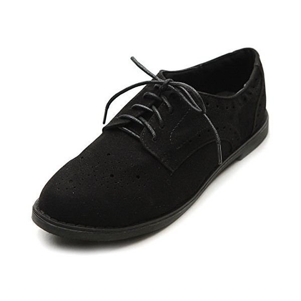 Suede Comfortable Shoes Black Vintage Lace-up Oxfords image 1