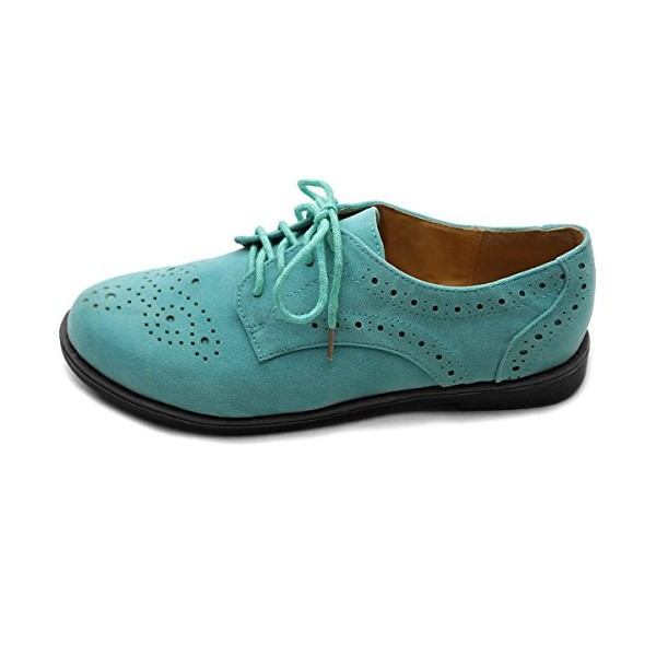 Turquoise Lace up Flats Women's Oxfords Comfortable Vintage Shoes image 5