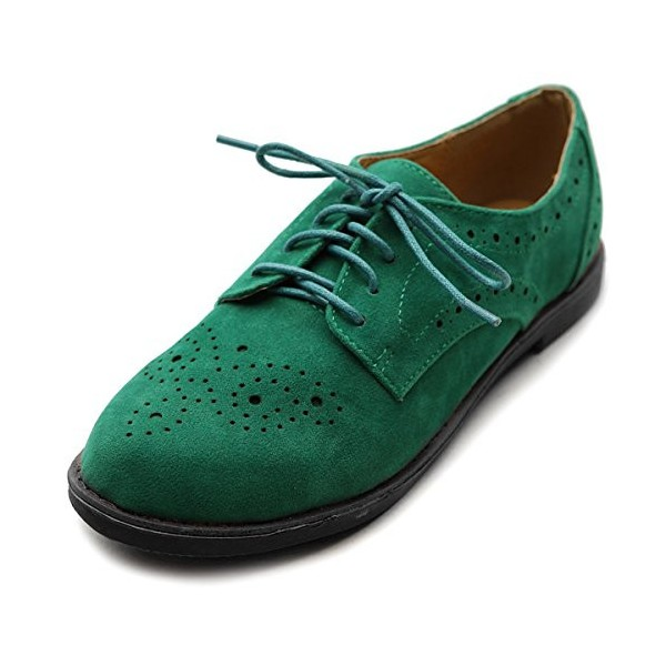 Green Suede Women's Oxfords Lace up Comfortable Flats image 1