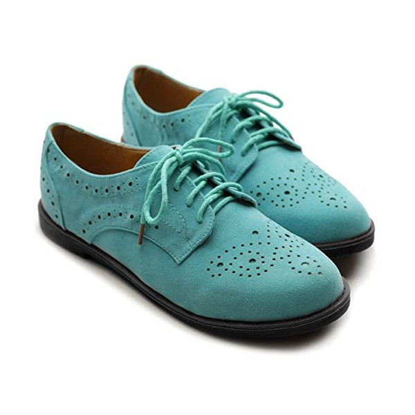 Turquoise Women's Oxfords Comfortable Lace up Vintage Flats image 4